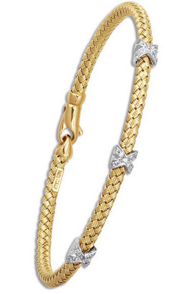 "7.25"" 14K Yellow & White Gold 3.40mm (1/8"") Round Tube Basket Weaved Diamond Accent w/ 0.14ct Diamond Fancy Bangle Bracelet w/ Fancy Lobster Clasp"