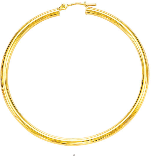 "14K Yellow Gold 3.0x50mm (0.12""x1.97"") Round Tube Polished Hoop Earrings"