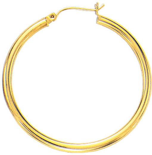 "14K Yellow Gold 5.0x25mm (0.2""x0.98"") Round Tube Polished Hoop Earrings"