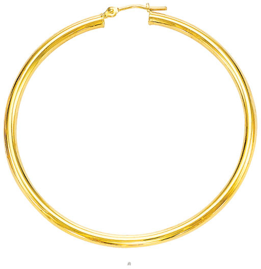 "14K Yellow Gold 5.0x30mm (0.2""x1.18"") Round Tube Polished Hoop Earrings"