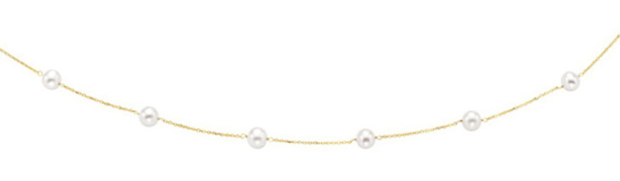 "18"" 14K Yellow Gold 6-6.5mm (0.24""-0.26"") White Pearl w/ Cable Link Chain Tin Cup Necklace w/ Spring Ring Clasp"