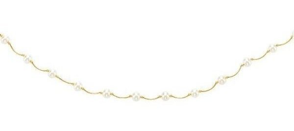 "17"" 14K Yellow Gold 6-6.5mm (0.24""-0.26"") White Pearl Curve Tube Bar Like Tin Cup Necklace w/ Spring Ring Clasp"