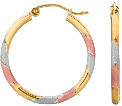 "14K Yellow, Rose & White Gold 2.0mm (0.08"") Textured Polished Round Tube Tri Color Hoop Earrings"