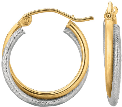 14K Yellow & White Gold Polished Textured Double Hoop Earrings