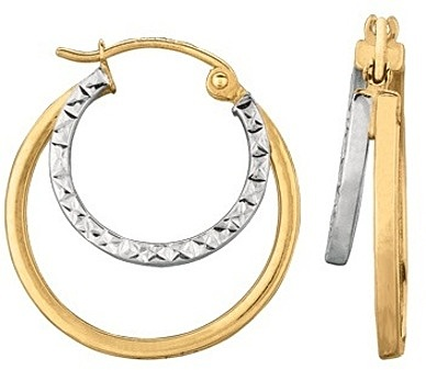 14K Yellow & White Gold Polished Hammered & Polished Double Hoop Earrings