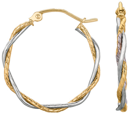14K Yellow & White Gold Shiny Textured Twisted Hoop Earrings