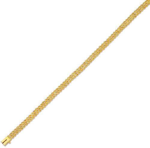 "7"" 14K Yellow Gold 4.5mm (3/16"") Polished Diamond Cut Multi Line Rope Chain w/ Box Catch Clasp"