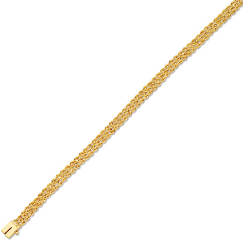 "8"" 14K Yellow Gold 6.0mm (1/4"") Diamond Cut Multi Line Rope Chain w/ Box Catch Clasp"