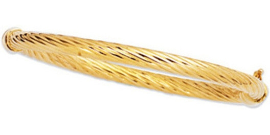 "7"" 14K Yellow Gold 5.0mm (1/5"") Polished Twisted Round Tube Fancy Bangle Bracelet w/ Clasp"