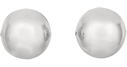 "14K White Gold 10.0mm (3/8"") Shiny Ball Post Earrings"