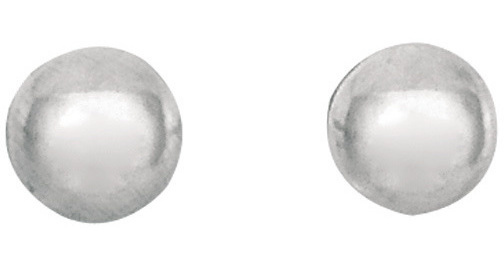 "14K White Gold 3.0mm (1/8"") Shiny Ball Post Earrings"