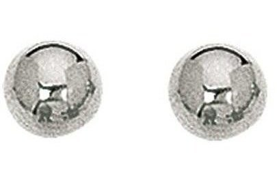 "14K White Gold 6.0mm (1/4"") Shiny Ball Post Earrings"