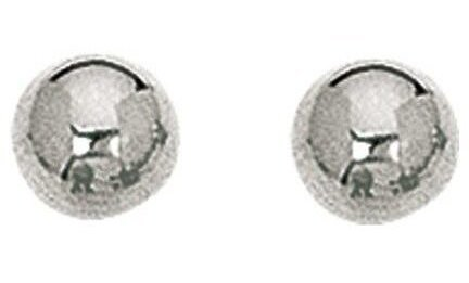 "14K White Gold 7.0mm (2/7"") Shiny Ball Post Earrings"