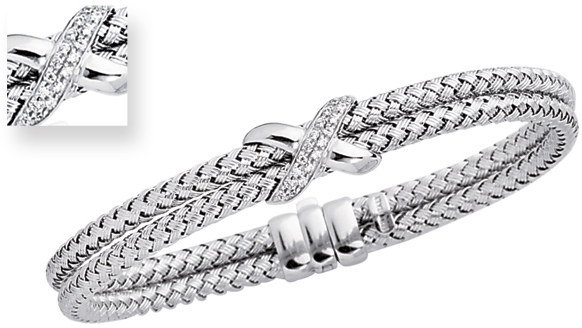 "7.25"" 14K White Gold 7.2mm (2/7"") Round Tube Double Basket Weaved Diamond Accent w/ 0.18ct Diamond Fancy Bangle Bracelet w/ Fancy Clasp"