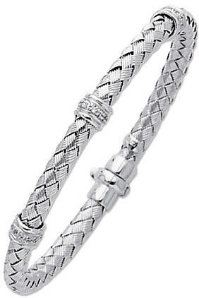 "7.25"" 14K White Gold 5.0mm (1/5"") Round Tube Basket Weaved Diamond Accent w/ 0.24ct Diamond Fancy Bangle Bracelet w/ Fancy Clasp"