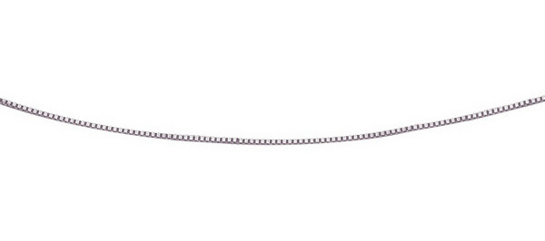 "17"" 14K White Gold 0.6mm (0.02"") Polished Classic Box Chain w/ Spring Ring Clasp"