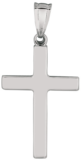 14K White Gold All Shiny Small Cross Pendant (BTWCH821)