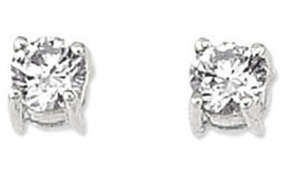 "14K White Gold Shiny 5.0mm (1/5"") Round Faceted White Cubic Zirconia (CZ) Stud Earrings"