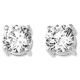"14K White Gold Shiny 6.0mm (1/4"") Round Faceted White Cubic Zirconia (CZ) Stud Earrings"