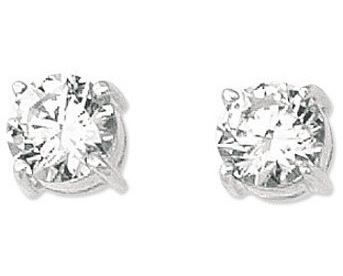 "14K White Gold Shiny 7.0mm (2/7"") Round Faceted White Cubic Zirconia (CZ) Stud Earrings"