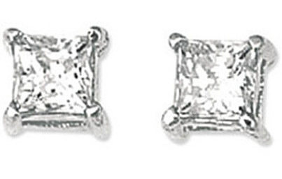 "14K Yellow Gold Shiny 8.0mm (1/3"") Square Faceted White Cubic Zirconia (CZ) Stud Earrings (BTWCZ108)"