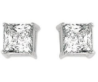 "14K White Gold Shiny 6.0mm (1/4"") Square Faceted White Cubic Zirconia (CZ) Stud Earrings"