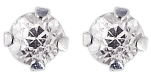 "14K White Gold Shiny 2.0mm (0.08"") Round Faceted White Cubic Zirconia (CZ) Stud Earrings"