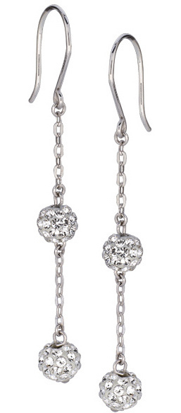 14K White Gold Shiny Cable Chain Link w/ 2 White Crystal Ball Drop Earrings