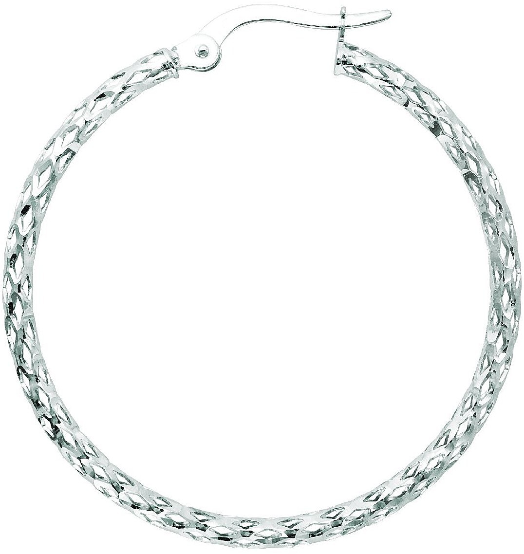 "14K White Gold 1.5x27mm (0.06""x1.06"") Polished Textured Weaved Like Sparkle Hoop Earrings"