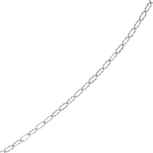 "10"" 14K White Gold 3.75mm (1/7"") Twisted Hammered Oval Like Chain Anklet w/ Lobster Clasp"