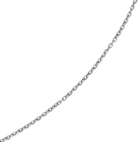 "20"" 14K White Gold 3.5mm (1/7"") Diamond Cut Oval Textured Link Chain w/ Lobster Clasp"