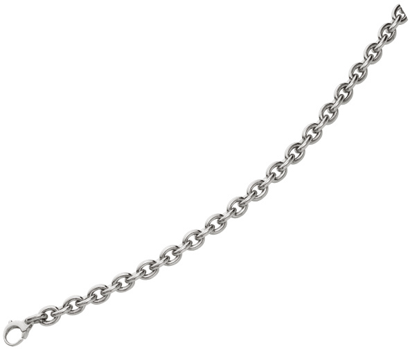 "20"" 14K White Gold Polished Oval Chain Link w/ Pear Shape Clasp"