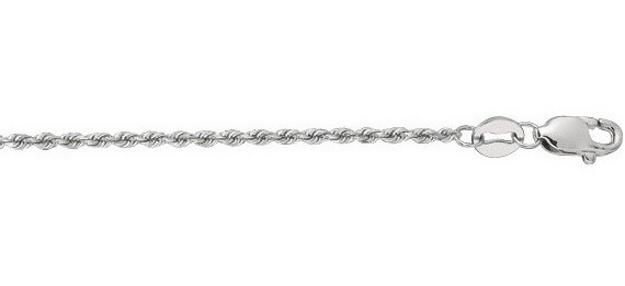 "16"" 14K White Gold 1.25mm (0.05"") Polished Solid Diamond Cut Royal Rope Chain w/ Lobster Clasp"