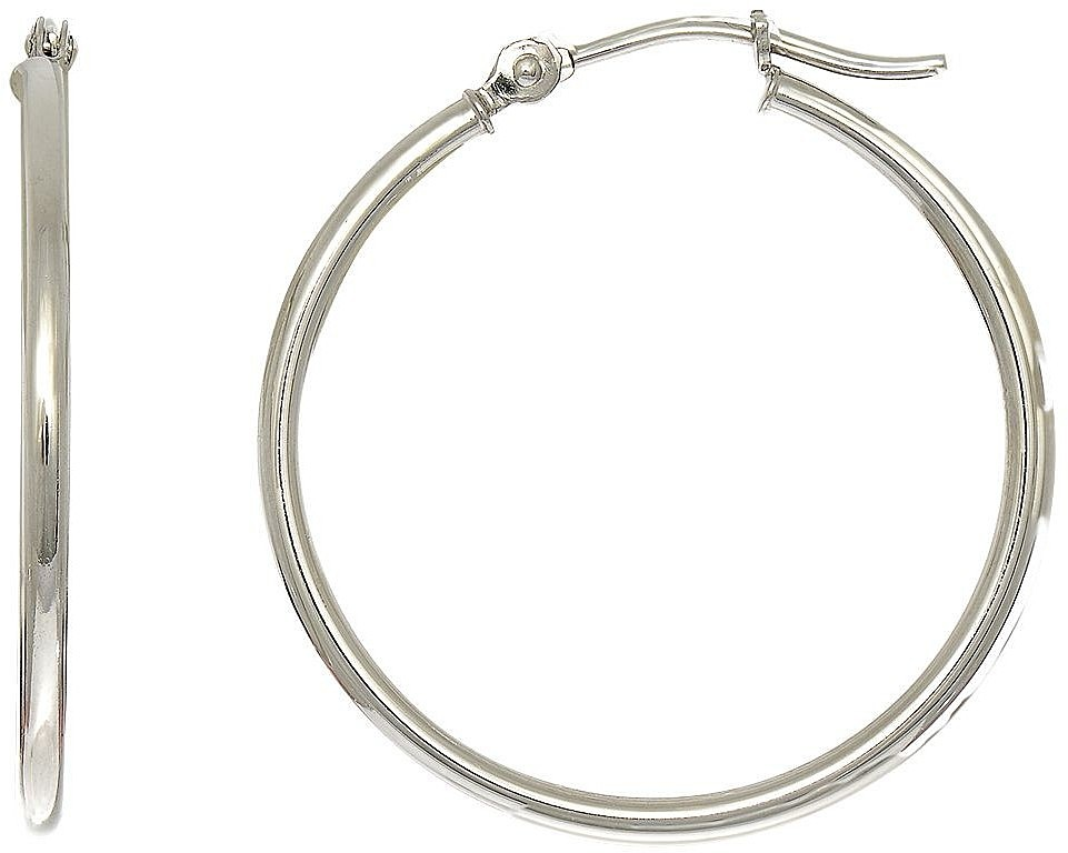 "14K White Gold 1.5x25mm (0.06""x0.98"") Polished Round Tube Hoop Earrings"