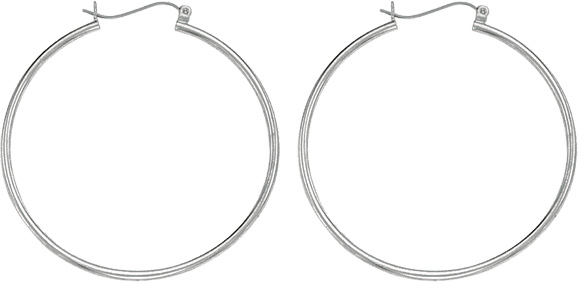 "14K White Gold 1.5x40mm (0.06""x1.57"") Polished Round Tube Hoop Earrings"