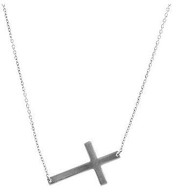 "18"" 14K White Gold 1.05mm (0.04"") Shiny Oval Cable Chain w/ Sideways Cross Necklace"
