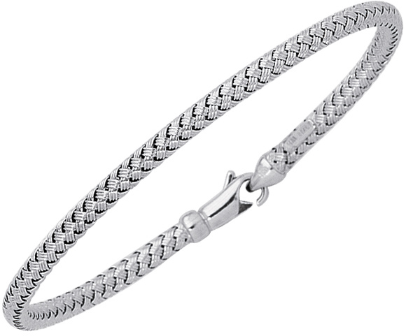 "7.25"" 14K White Gold Shiny Round Basket Weaved Bangle Bracelet w/ Lobster Clasp"