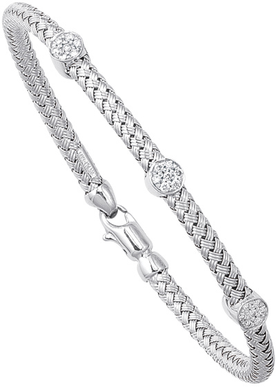"7.25"" 14K White Gold 3.75mm (1/7"") Round Tube Basket Weaved Diamond Accent w/ 0.20ct Diamond Fancy Bangle Bracelet w/ Fancy Lobster Clasp"
