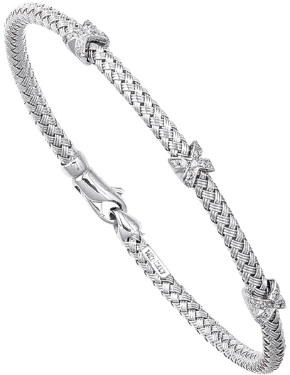 "7.25"" 14K White Gold Round Basket Weaved Bangle w/ Lobster Clasp & ""X"" Type Barrel w/ 0.21ctw Diamond"