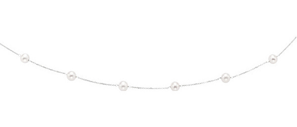 "18"" 14K White Gold 6-6.5mm (0.24""-0.26"") White Pearl Tin Cup Necklace w/ Spring Ring Clasp"