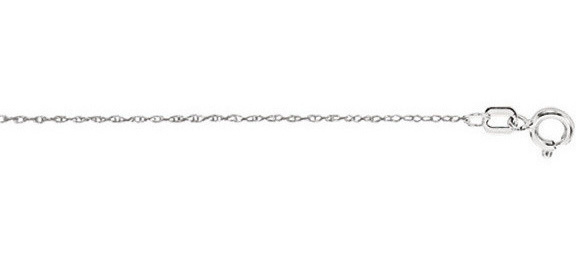 "18"" 10K White Gold Shiny Diamond Cut Carded Rope Chain w/ Spring Ring Clasp (BTZWR518)"
