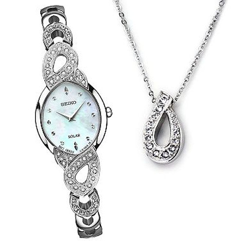 Seiko Solar SUP367 - Swarovski Crystals w/ Mother-of-Pearl Dial Watch & Necklace Box Set (Womens)