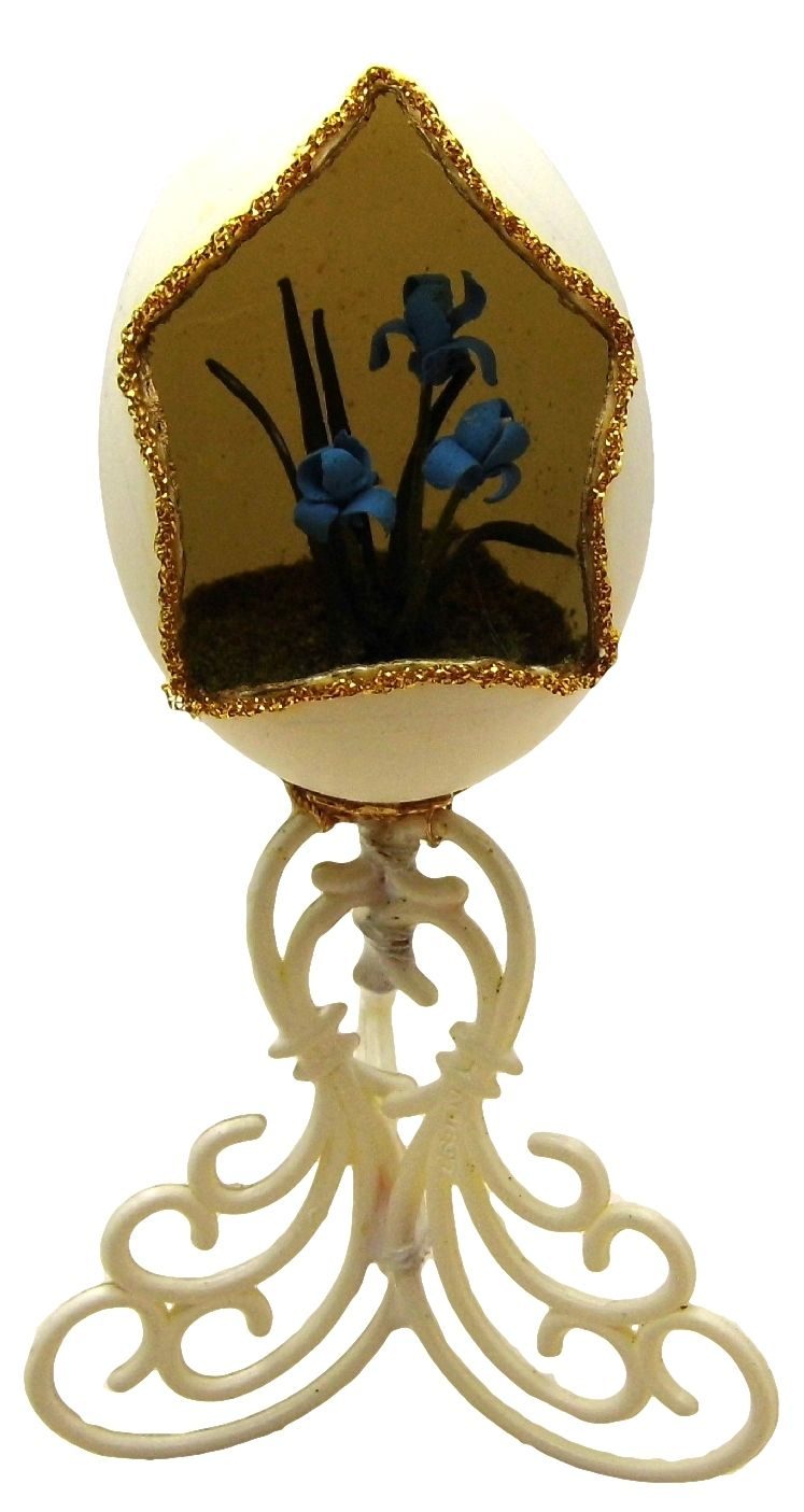 Hand-Decorated Real CHICKEN Egg Art on Stand Collectable Ornate Signed BLUE