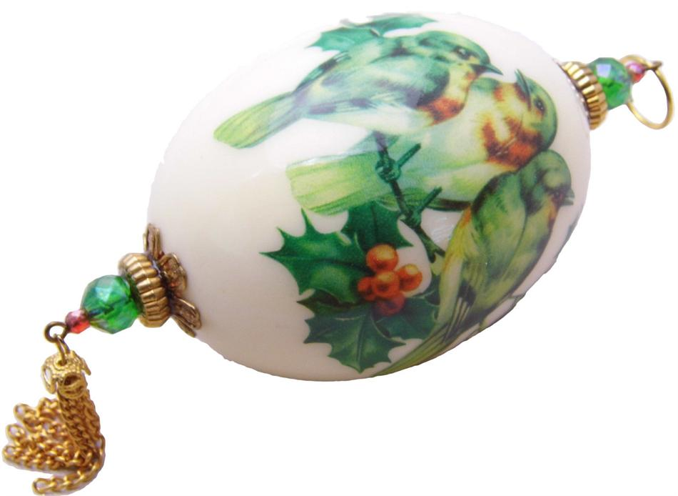 Hand-Decorated Real GOOSE Egg Art Ornament GREEN BIRDS Tassel Collectable Signed