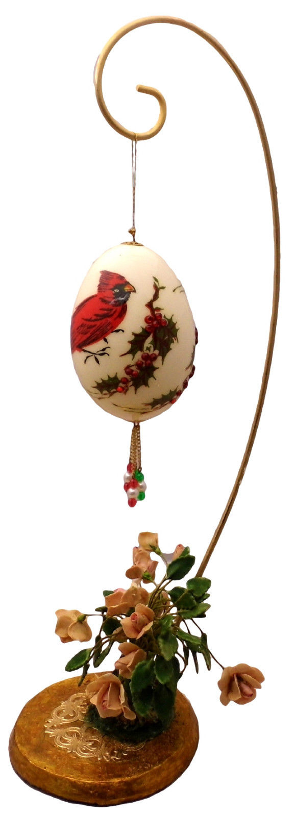 Hand-Decorated Real GOOSE Egg Art CARDINALS Birds w/ FLORAL Hanger Collectable
