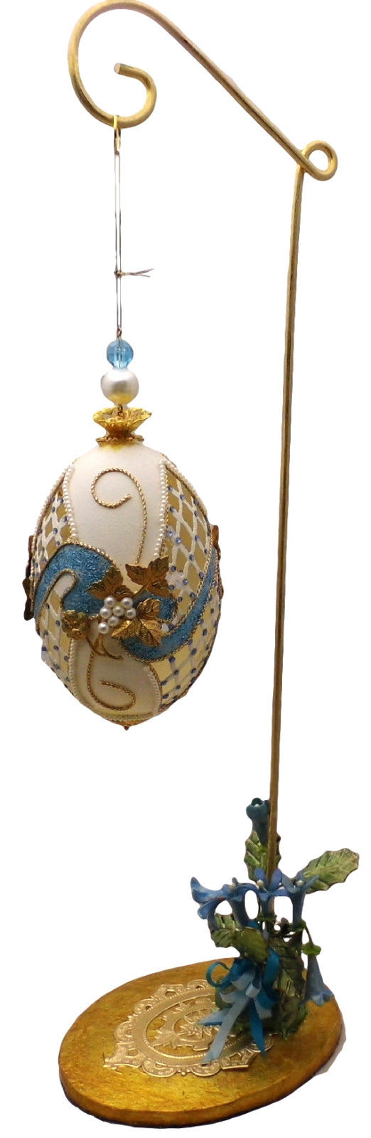 Hand-Decorated Real GOOSE Egg Art Blue & White on Hanger Ornate Gift Collectable