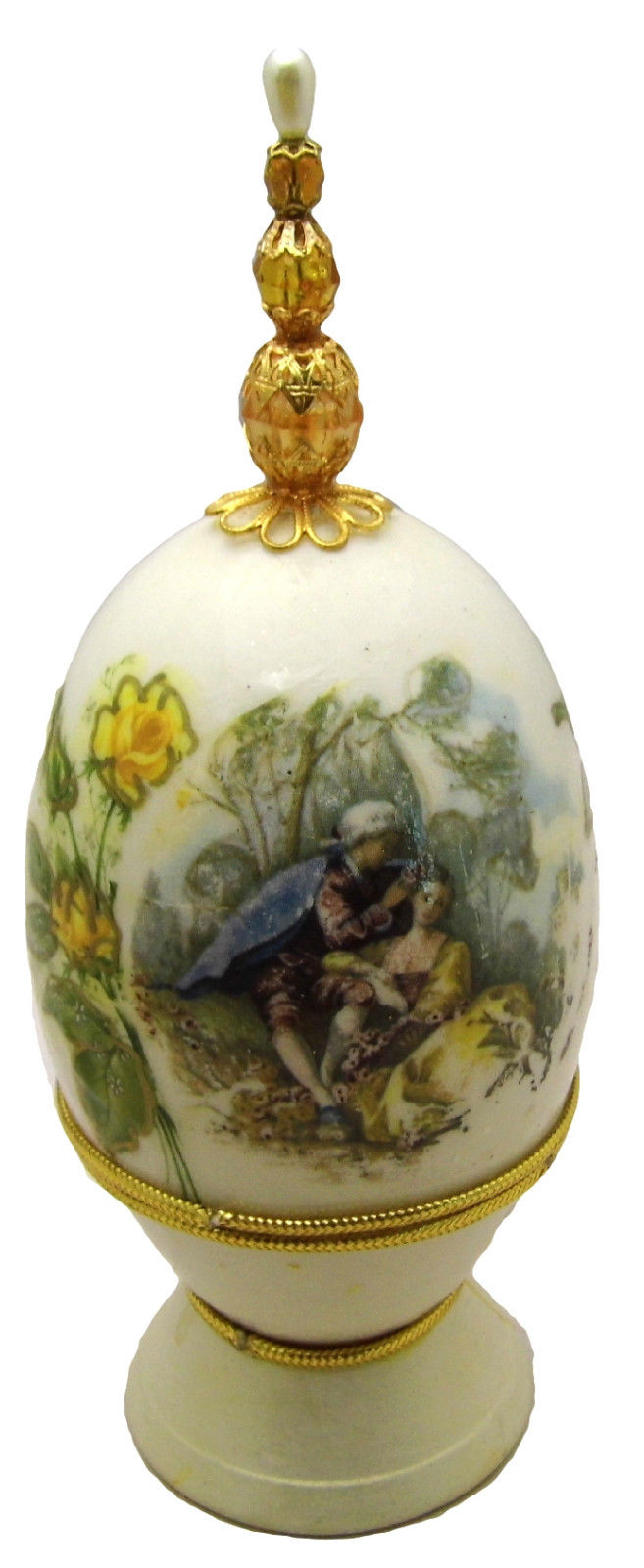 Hand-Decorated Real GOOSE Egg Art Opens COURTING SCENE Gift Collectable Signed