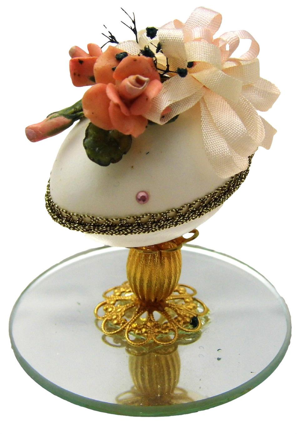 Hand-Decorated Real QUAIL Egg Art Raised w/Mirror ORANGE PINK Ornate Collectable
