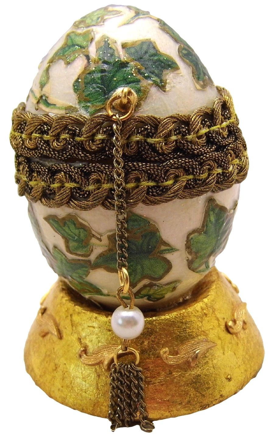 Hand-Decorated Real CHICKEN Egg Art Top Opens IVY Signed Collectable Ornate