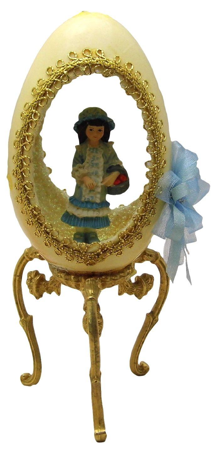 Hand-Decorated Real GOOSE Egg Art Cutout GIRL w/ APPLE BASKET Gift Collectable